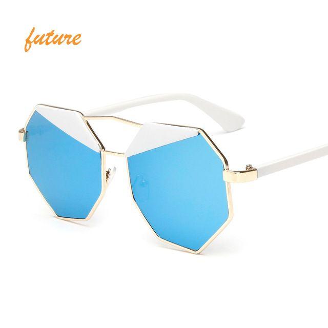 Brand Designer oculos Female Sunglasses Women Gafas de sol Reflective Summer Pink Mirror Sun Glasses Vintage Occhiali da sole