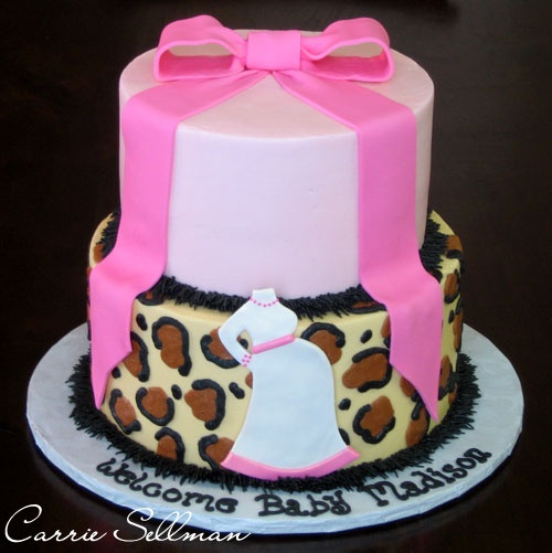 cheetah print baby shower cake could also be a nice birthday cake minus the