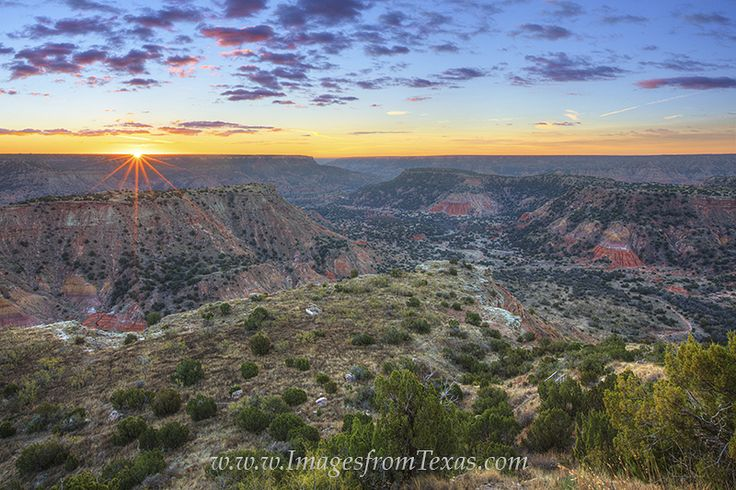 Sunrise over the Palo Duro Canyon is a beautiful experience. See more here: http://www.imagesfromtexas.com/gallery/palo-duro-canyon-photos/