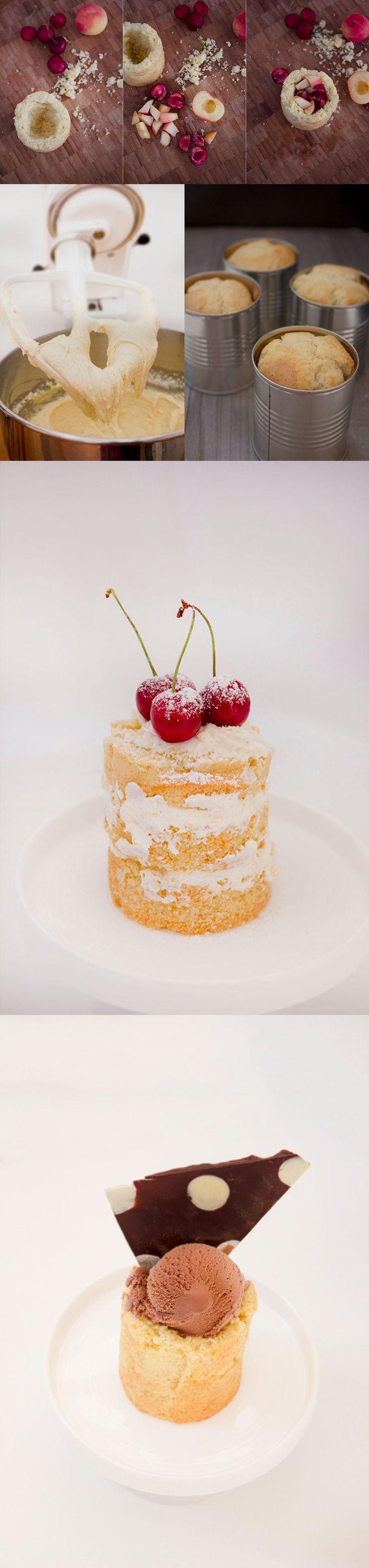 Mini tarta de vainilla en lata