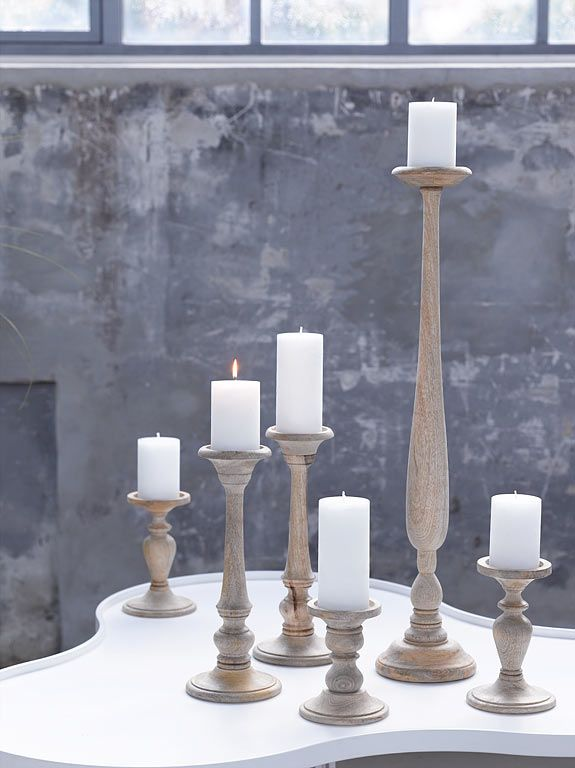 wood - candles - natural - kaars - massief houten kandelaar