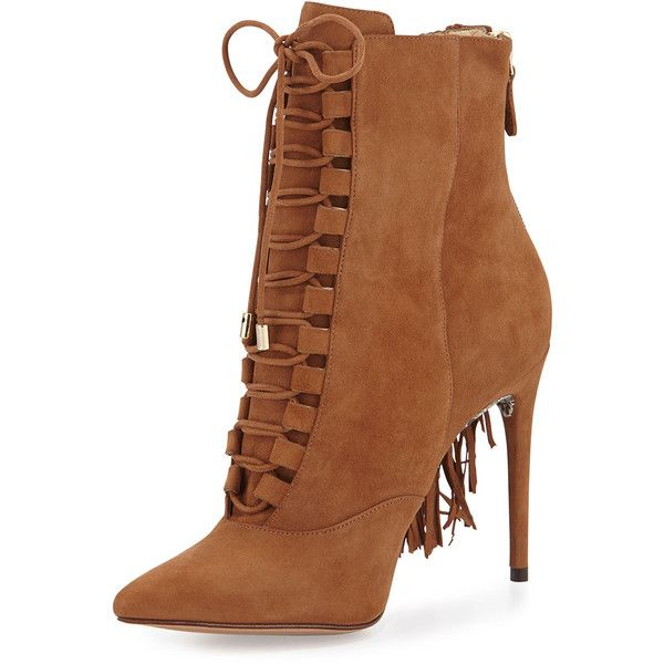 Alexandre Birman Katys Suede Tassel Boot ($995) ❤ liked on Polyvore featuring shoes, boots, ankle booties, heels, ankle boots, beige, high heel bootie, suede fringe boots, lace up high heel booties and high heel boots