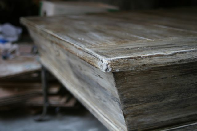 """Faux Weathered Wood Tutorial - She used AS """"Old White"""" as a base over the original (med. shade) stained wood finish. Sanded and dry brushed with AS """"Paris Grey"""". Sanded again and applied AS Clear Wax & then AS Dark Wax."""