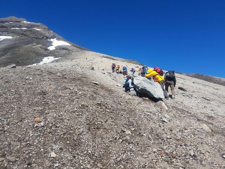 Climbing to the summit of Mount Taranaki