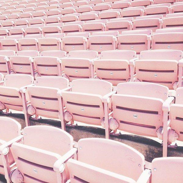rows of pastel pink seating