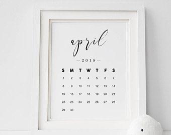 April Calendar 2018 Print — Pregnancy Announcement Printable Wall Art Newborn Print Black And White Monthly Calendar April INSTANT DOWNLOAD