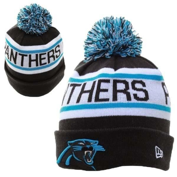 Mens / Womens Carolina Panthers New Era NFL Biggest Fan Redux Cuffed Knit Pom Pom Beanie Hat - Black / White