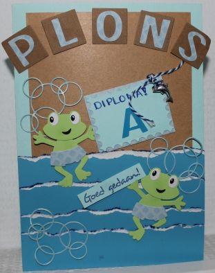 Gemaakt door Joke # Zwemdiploma - Kaart met kikkertjes - Plons - voor onze volgende zwemtopper, Guus