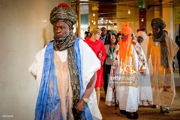 Queen Maxima of The Netherlands with the Emir of Kano Mallam Muhamned Sanusi Enhancing Financial Innovation and Acces event The Role of the Government where she gives a speech on November 2, 2027 in Abuja, Niger.