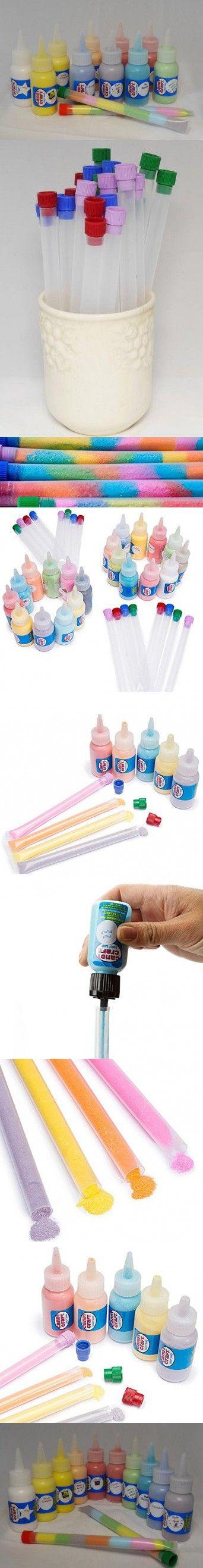 Sandy Candy Test Tube Party Kit - Sand Candy Art For Kids Birthday Party Activities, Games & Party Favors - 10 Flavor Sand Candy Kit - 10 Bottles With 25, 6 Inch Test Tubes