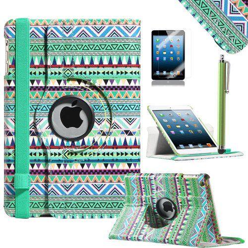 iPad Mini Case, iPad Mini Retina Case - ULAK 360 Rotating PU Leather Folio Stand Case with Auto Sleep/wake Function (Rotate-Green Tribal) ULAK http://www.amazon.com/dp/B00GMYQKC0/ref=cm_sw_r_pi_dp_rafpub06MNQ47