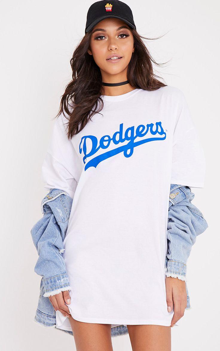 LA Dodgers White Slogan T Shirt Dress