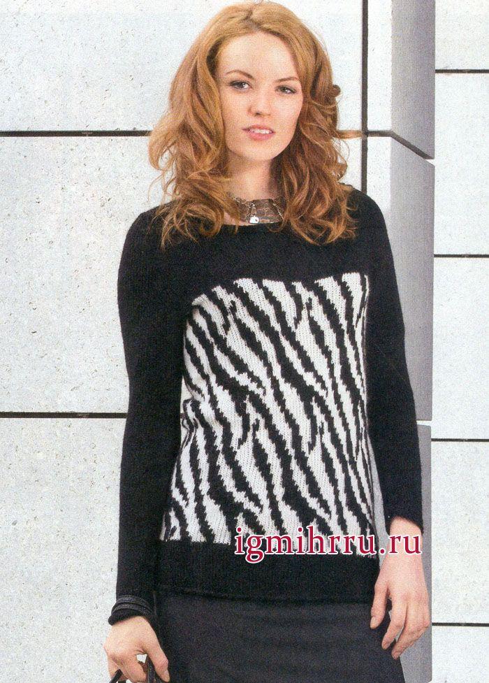 Теплый и мягкий пуловер с узором а ля зебра. Вязание спицами