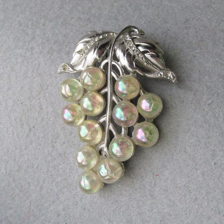 1940's Vintage Rhinestone & Soap Bubble Lucite Grape Bunch Fur Clip. Vintage Jewelry under $25 at Ruby Lane @Ruby Lane