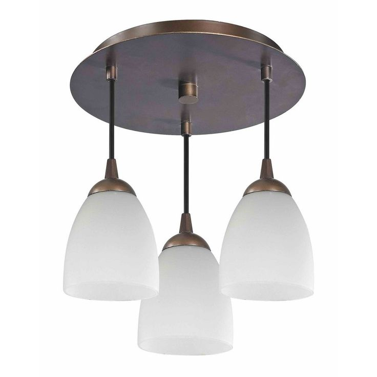 3-Light Semi-Flush Ceiling Light with White Glass - Bronze Finish at Destination Lighting