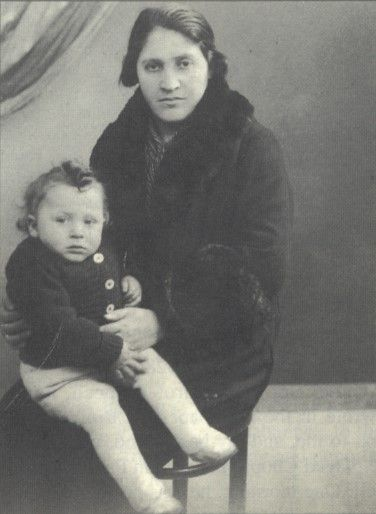 Photo of Nathan Hoffman with his mother taken in Paris, France in 1943/1944. Nathan was sadly deported to Auschwitz with his mother and older siblings on July 31, 1944 at age 3