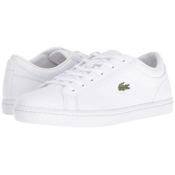 Lacoste Straightset BL 1 (White) Women's Shoes ($110) ❤ liked on Polyvore featuring shoes, lacoste, lace up shoes, lacoste shoes, laced up shoes and round cap