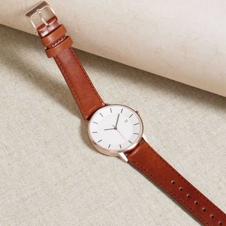 Linjer's Classic watch has a clean white dial and numberless indices.