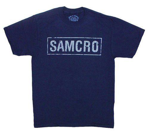 SOA Samcro Cracked 2-Sided Navy Adult T-shirt