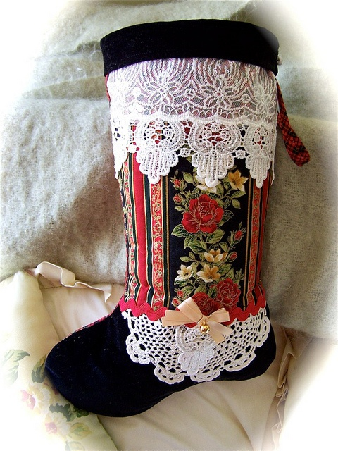 Black Velvet Heirloom Christmas boot. by Created by Cath., via Flickr #christmas, #heirloom stocking, #vintage lace, #christmas decorating $40.00