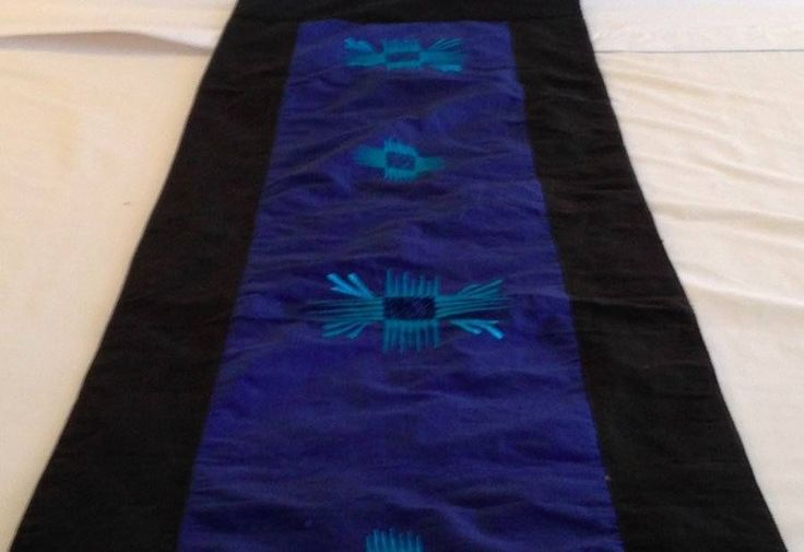 Blue & Black Embroidered Bed Table Runner 3 Metre Cotton Satin Bali $26.98