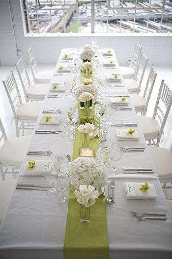 Tischdeko grün weiß