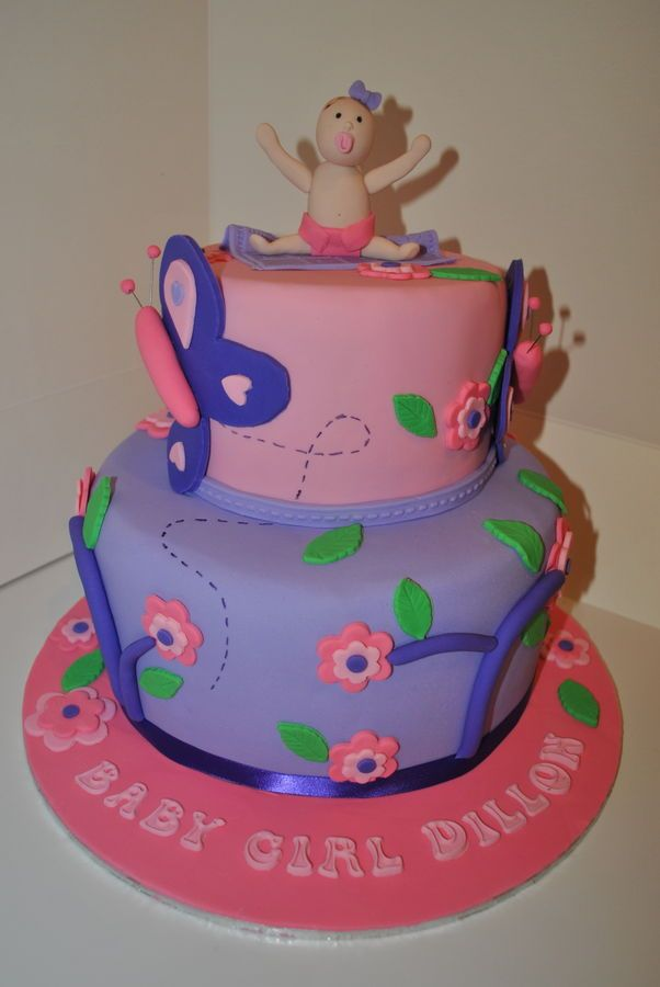 Baby Girl Baby Shower Cake Pink Purple Flower Butterfly