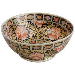 English Porcelain Large Imari Pattern Punch Bowl, Coalport, circa 1820