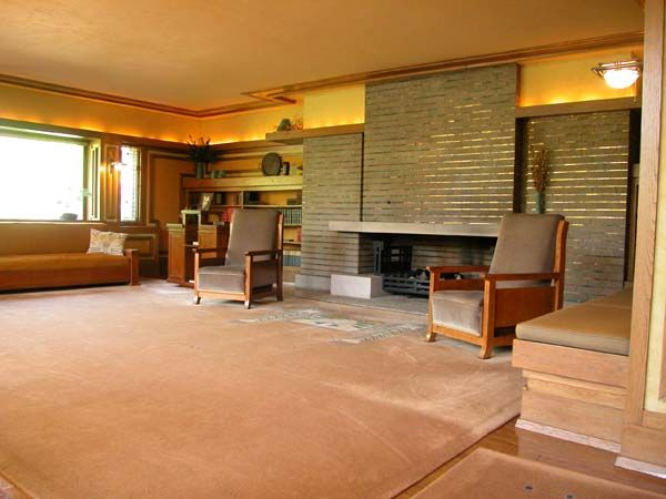 Meyer may house 1909 grand rapids michigan prairie for Prairie style fireplace