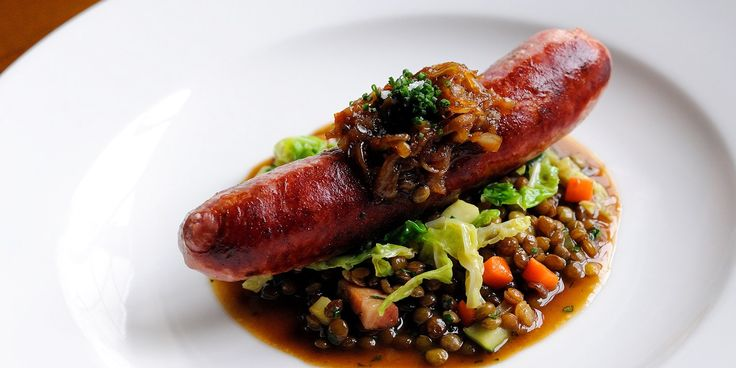 What could be more comforting than meaty Toulouse sausages served on a bed of tender, braised lentils. Tuck in to Dominic Chapman's dish on Great British Chefs