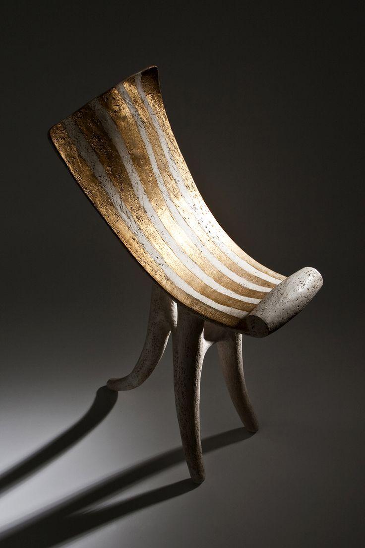"István Holló: Ceramic sculpture ""Chair of the Muses"" 2011. Handbuilt chamotte stoneware, tinsel. Size: 21x43x64cm"