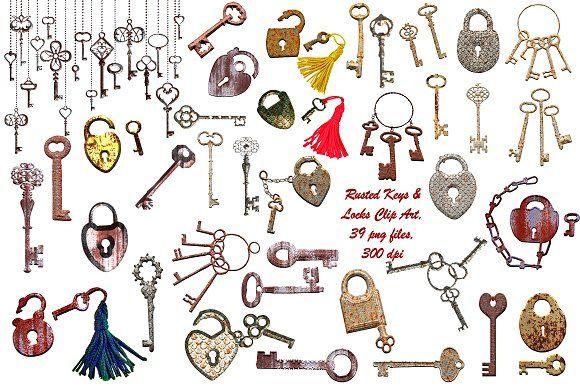 Rusted Keys & Locks Clip Art - Illustrations