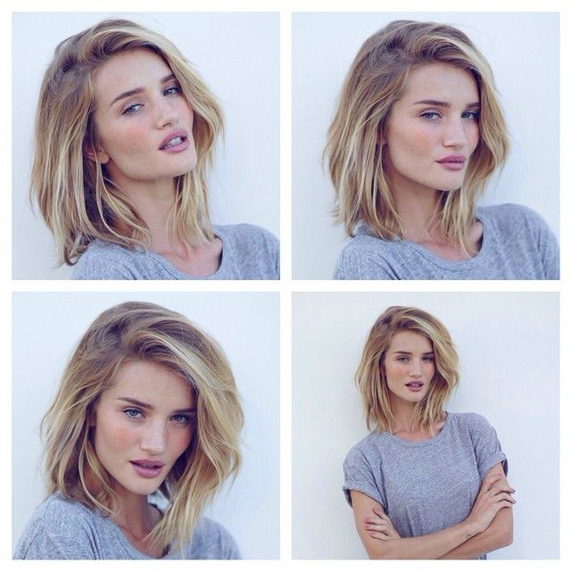 Model and actress Rosie Huntington-Whiteley cut her hair mid-length at the end of last year, but decided to cut it even shorter into a long bob in February 2015. We love her tousled tresses!