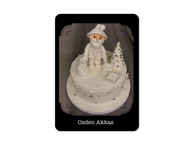 Christmas cake white santa