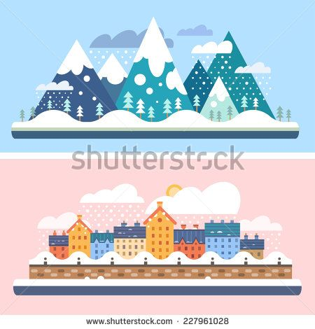 Winter nature. Mountains with snow and city embankment landscapes. Christmas time. Vector flat illustrations - stock vector