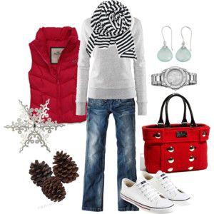 : Fashion, Purse, Style, Christmas Outfit, Red Vest, Winter Outfits, Fall Winter, Puffy Vest