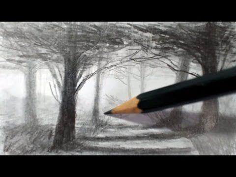Como Dibujar un Bosque y lograr Profundidad y Atmosfera Tecnica de Dibujo a lápiz - YouTube