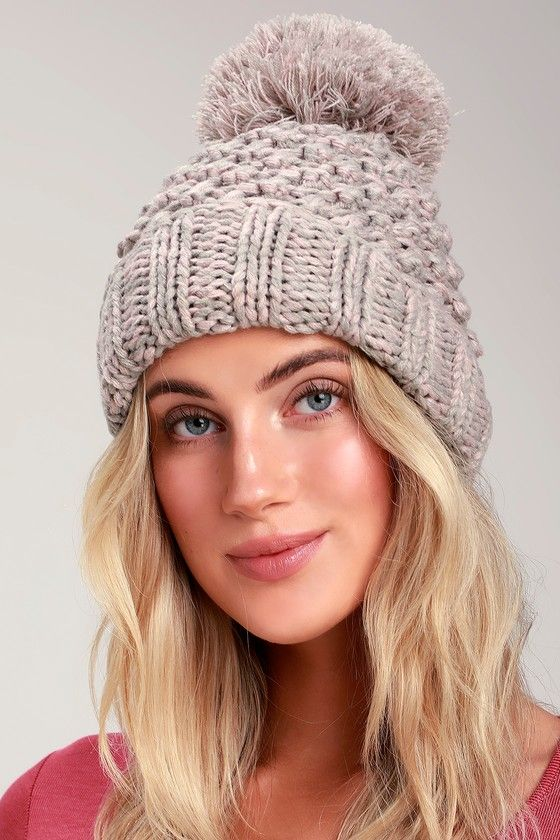 e8f5a9fc9da The Danforth Pink and Grey Knit Pom Pom Beanie is a perfect addition to  your cold-weather look! Chunky knit