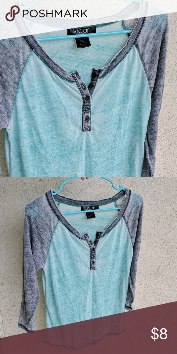 Sugar Burnout 3/4 Sleeve Top A light Henley top sugar Shirts & Tops Tees - Short Sleeve