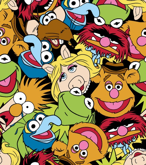 Licensed Fleece Fabric Muppets Packed I Want
