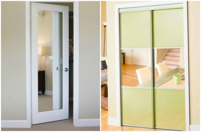 Ajoutez des miroirs à vos portes. Cette astuce est géniale si vous souhaitez agrandir une pièce