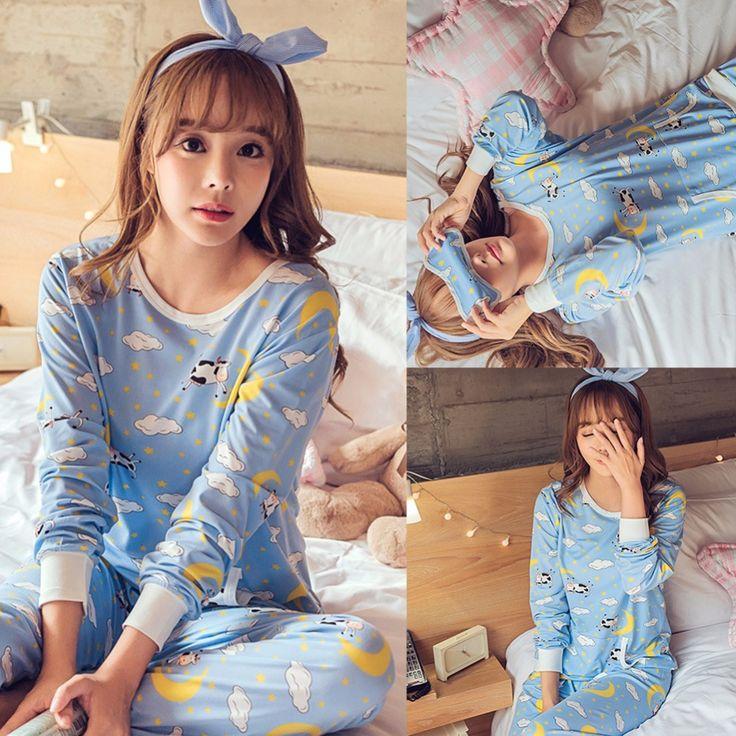 Cheap pyjamas women, Buy Quality women pijama directly from China pajama sets Suppliers: Spring Pyjamas Women Pijamas Mujer Cartoon Lovely Cow Pajamas Sets Femme Long Sleeve Sleepwear Female Homewear