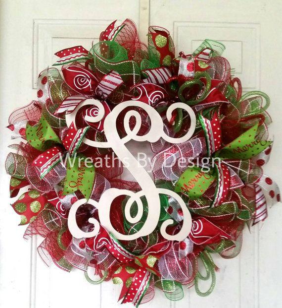 Christmas wreath vine initial wreaths Christmas decorations  https://www.etsy.com/listing/253209057/wreaths-monogram-vine-initial-christmas