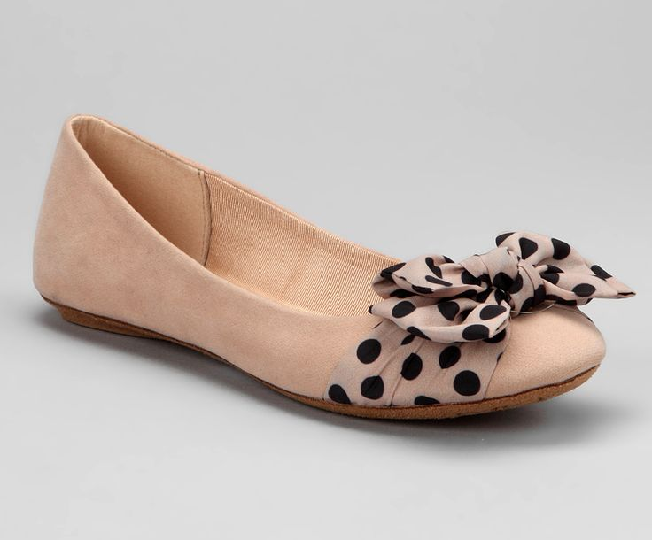 $30 Size 6 7 8 Adorable Nude Quitas Flat Womens Shoe Flats Polka Dot Bow Tan Beige Cream | eBay
