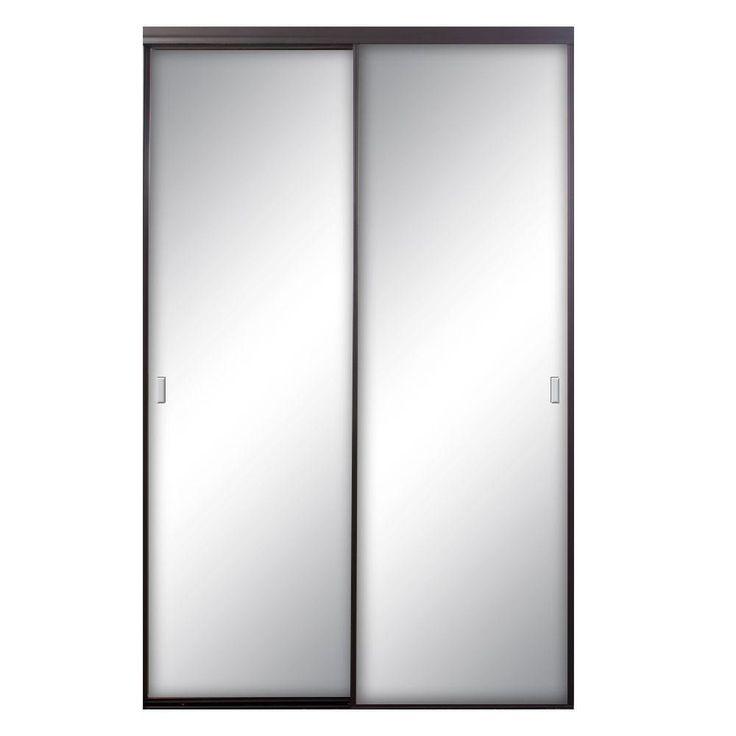 Contractors Wardrobe Asprey 72 in. x 96 in. Bronze Mirrored Aluminum Interior Sliding Door, Bronze Finish