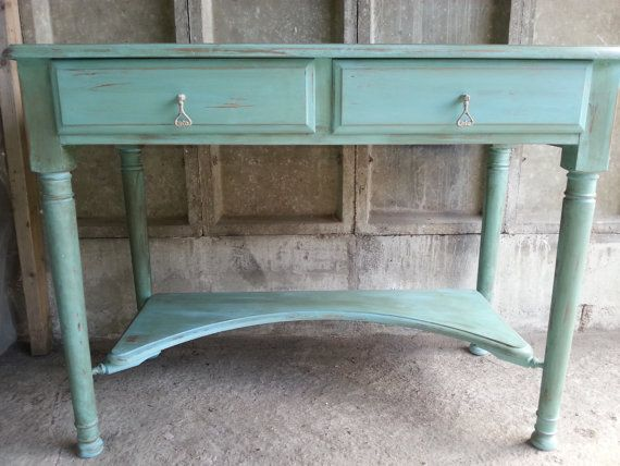 Vintage shabby chic style distressed desk annie sloan for Rideaux style shabby chic