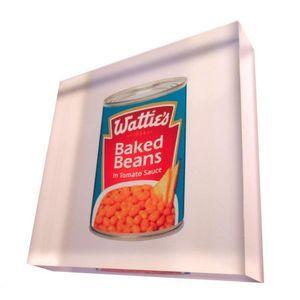 Wattie's Baked Beans - NZ Art printed directly onto acrylic art photo blocks. 90mmx90mmx20mm from Chelsea DesignNZ.