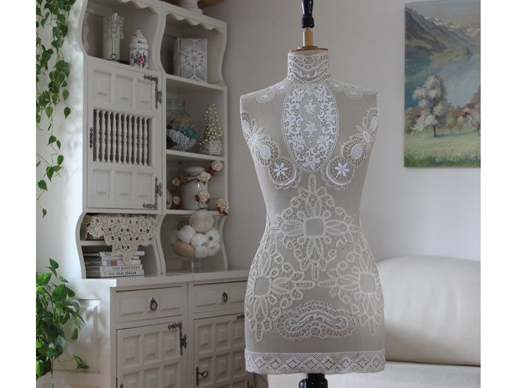 Shabby Chic Bedroom Decorating Ideas - Click for Tutorial - Vintage Lace and Mannequin