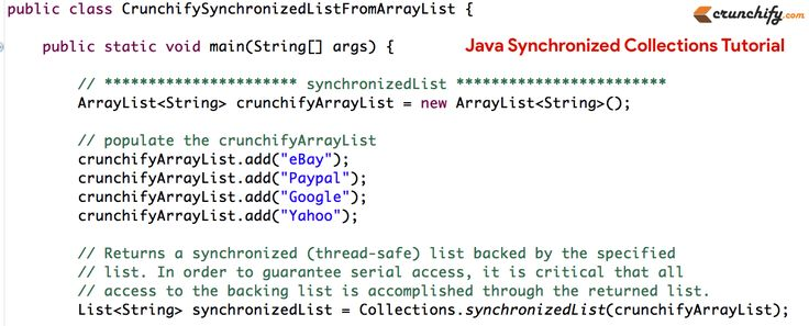 What is #Java Synchronized Collections? Complete Tutorials using #Java.util.Collections http://crunchify.com/java-synchronized-collections-examples-java-util-collections/