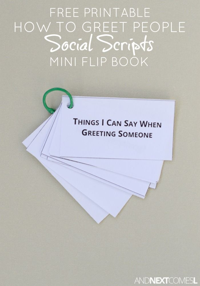 Free printable greeting people social scripts for kids with autism or hyperlexia from And Next Comes L
